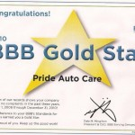 BBB Gold Star given to Pride Auto Care