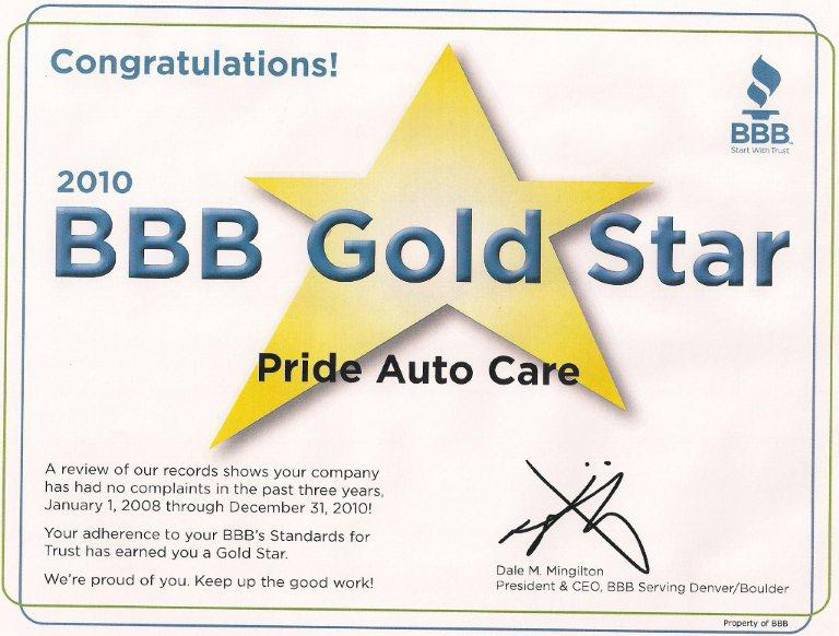 bbb gold star certificate  2011 better business bureau