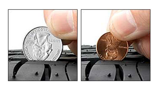 washington quarter test versus the lincoln penny test on tires. Black Bedroom Furniture Sets. Home Design Ideas