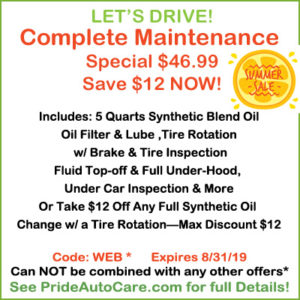 summer maintenance special Pride Auto Care Denver Parker Centennial Highlands Ranch